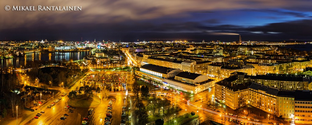 Helsinki night panorama (from the Olympic Tower)