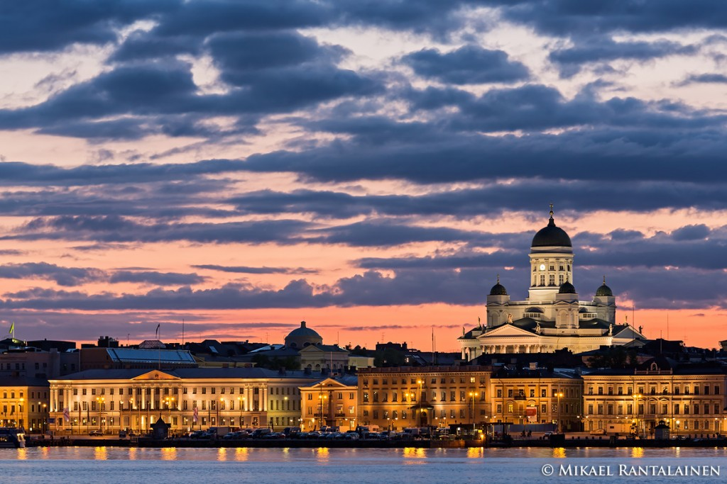 Nightfall in Helsinki.